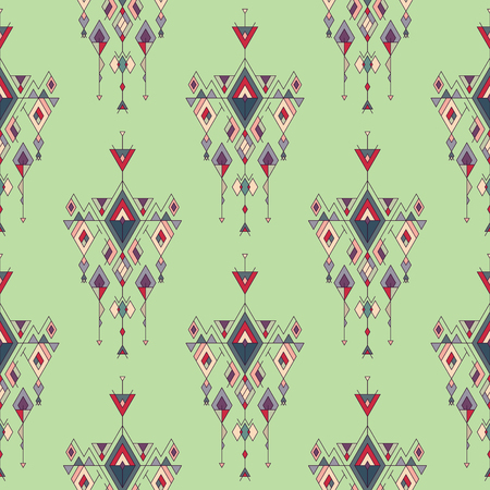Vector Tribal vintage ethnic seamless pattern. Aztec, mexican, navajo, african motif.