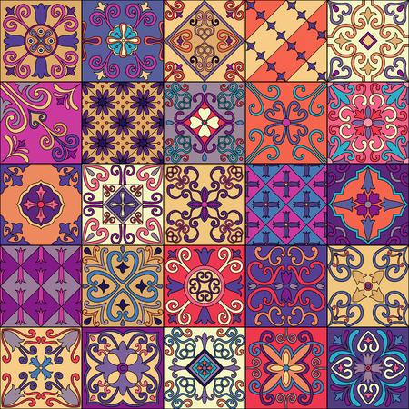 Naadloos patroon met Portugese tegels in talavera stijl. Azulejo, Marokkaanse, Mexicaanse Ornamenten Stockfoto - 80036822