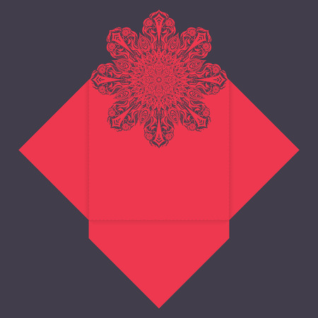 cut up: Paper lace envelope template, mock-up for laser cutting. Vector illustration.
