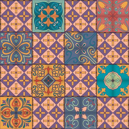 victorian wallpaper: Seamless pattern with portuguese tiles in talavera style. Azulejo, moroccan, mexican ornaments Illustration