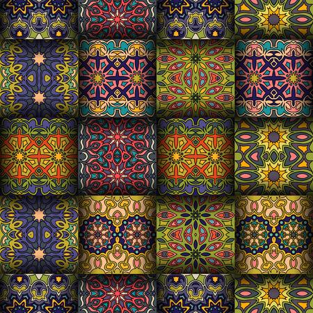 花と色鮮やかなヴィンテージ シームレス パターンとマンダラ要素。手描きの背景。