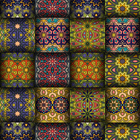 Colourful vintage seamless pattern with floral and mandala elements.Hand drawn background.