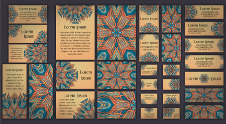 Business and invitation template Cards set with mandala ornament. Vintage decorative elements. Hand drawn background.