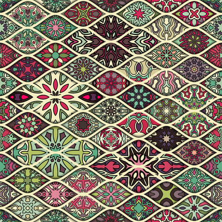 mosaic: Colorful vintage seamless pattern with floral and mandala elements.