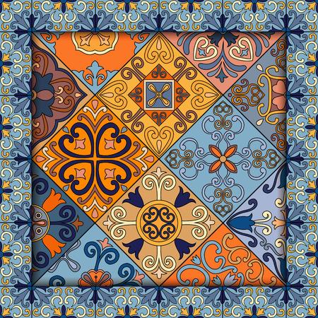 Seamless pattern with portuguese tiles in talavera style. Azulejo, moroccan, mexican ornaments Ilustração