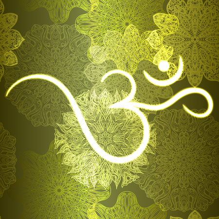 aum: Ornate floral seamless texture, endless pattern with glowing bright mandala elements and ohm symbol.
