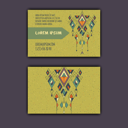 Vector ethnic business card template with tribal geometric element. Иллюстрация
