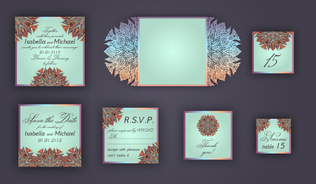 include: Vintage wedding invitation design set include Invitation card, Save the date, RSVP card, Thank you card, Table number, Place cards, Paper lace envelope. Wedding invitation mock-up for laser cutting.