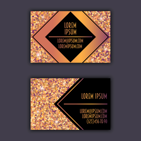 foil: Business card templates with glitter shining background.