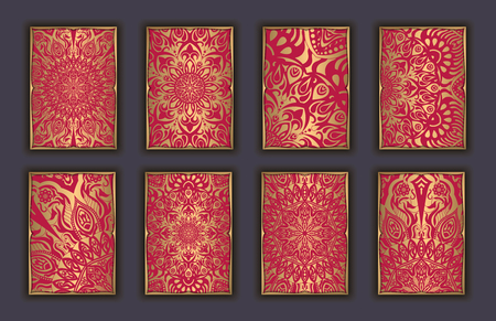 Card set with mosaic lace decorative elements background. Asian Indian oriental ornate banners 版權商用圖片 - 83434807