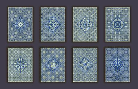 Kaart die met decoratieve de elementenachtergrond van het mozaïekkant wordt geplaatst. Aziatische Indiase oosterse sierlijke banners Stock Illustratie