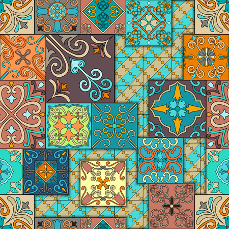 Seamless pattern with portuguese tiles in talavera style. Azulejo, moroccan, mexican ornaments Ilustrace