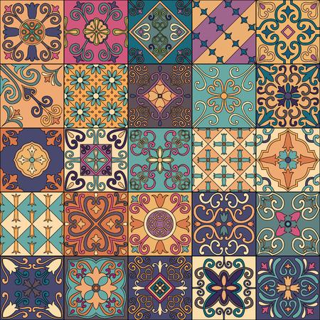 Nahtlose Muster mit portugiesischen Fliesen in Talavera-Stil. Azulejo, marokkanische, mexikanische Ornamente Standard-Bild - 84369157
