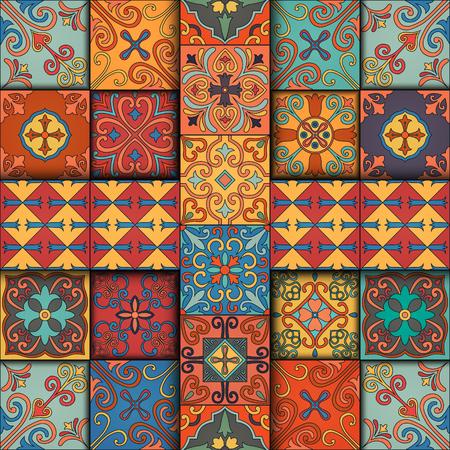 Seamless pattern with portuguese tiles in talavera style. Azulejo, moroccan, mexican ornaments Vettoriali