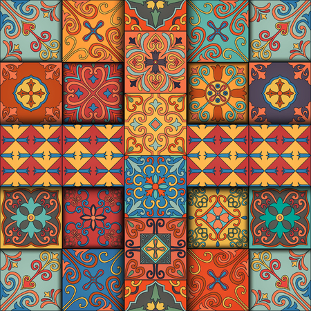 Seamless pattern with portuguese tiles in talavera style. Azulejo, moroccan, mexican ornaments Çizim