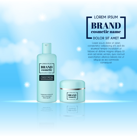 cloud: 3D realistic cosmetic bottle ads template. Cosmetic brand advertising concept design on sky background with clouds.