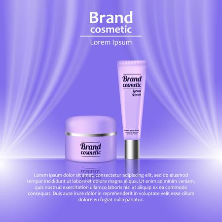 3D realistische cosmetische fles advertenties sjabloon. Cosmetische merk reclame concept ontwerp met golvende licht abstracte achtergrond. Stock Illustratie