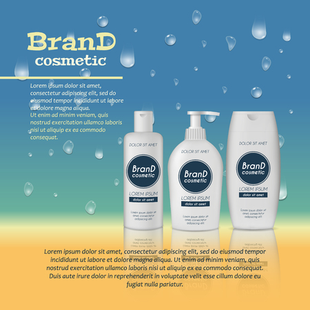 3D realistic cosmetic bottle ads template. Cosmetic brand advertising concept design with water bubbles and water drops and shadow background.