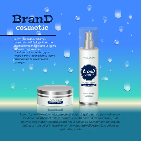 3D realistic cosmetic bottle ads template. Cosmetic brand advertising concept design with water bubbles and waterdrops background. Illustration