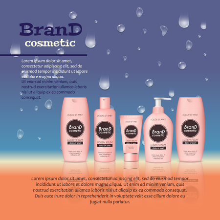 3D realistic cosmetic bottle ads template. Cosmetic brand advertising concept design with water bubbles and waterdrops background. Ilustração