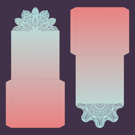 Paper lace envelope template, mock-up for laser cutting. Vector illustration.
