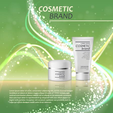 3D realistische cosmetische fles advertenties sjabloon. Cosmetische merkreclame concept ontwerp met glitters en bokeh achtergrond.