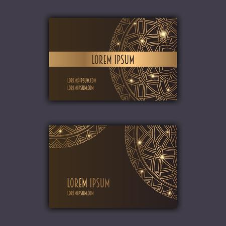 Cartes De Visite Luxe Avec Ornements Mandala Floral Elements