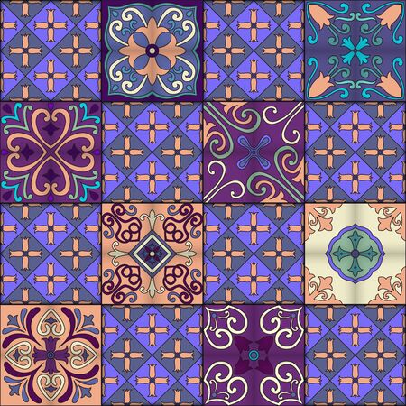 Seamless pattern of tiles in talavera style.