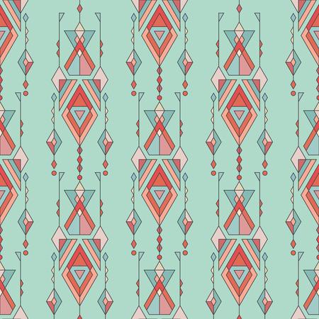 ベクトル部族ビンテージ エスニック シームレス パターン。アステカ、メキシコ、ナバホ族、アフリカのモチーフ