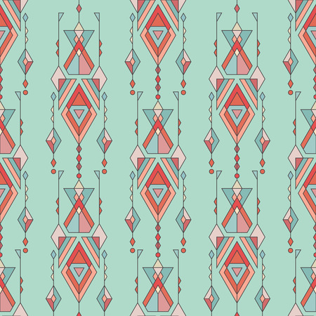 Vector Tribal vintage ethnic seamless pattern. Aztec, mexican, navajo, african motif 向量圖像