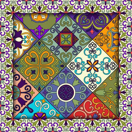 talavera: Seamless pattern with portuguese tiles in talavera style. Azulejo, moroccan, mexican ornaments Illustration