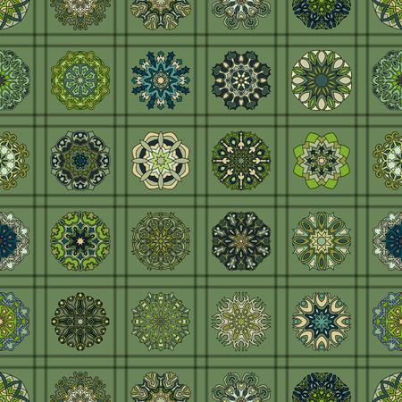 Modèle sans couture vintage coloré avec des éléments floraux et mandala. Arrière-plan dessiné à la main. Peut être utilisé pour le tissu, le papier peint, les carreaux, les emballages, les couvertures et les tapis. Motifs islamiques, arabes, indiens, ottomans.