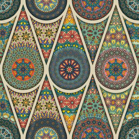 Colorful vintage seamless pattern with floral and mandala elements. Hand drawn background. Can be used for fabric, wallpaper, tile, wrapping, covers and carpet. Islam, Arabic, Indian, ottoman motifs. Stok Fotoğraf - 90711146