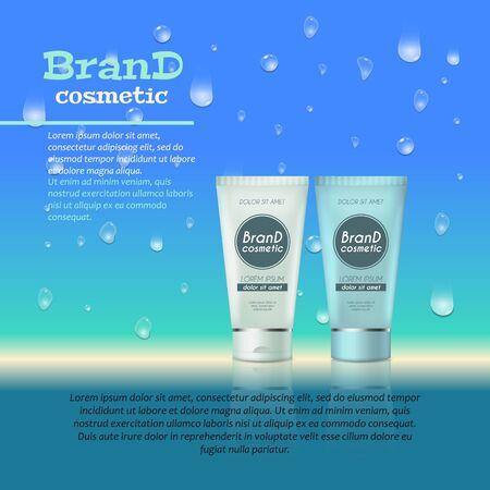 3D realistic beauty product bottle ads template. Ilustração