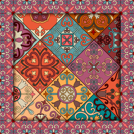 Seamless pattern with portuguese tiles in talavera style. Illustration
