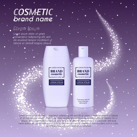 3D realistic cosmetic bottle ads template. Cosmetic brand advertising concept design with glittering dust background. 일러스트