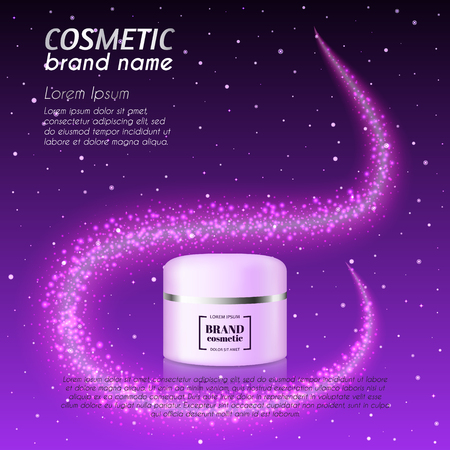 3D realistic cosmetic bottle ads template. Cosmetic brand advertising concept design with glittering dust background.  イラスト・ベクター素材