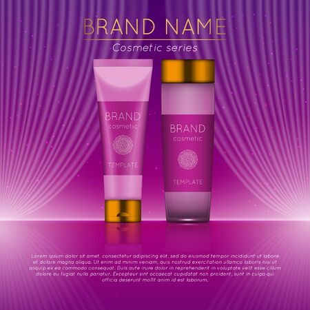 3D beauty product ad template design. 일러스트