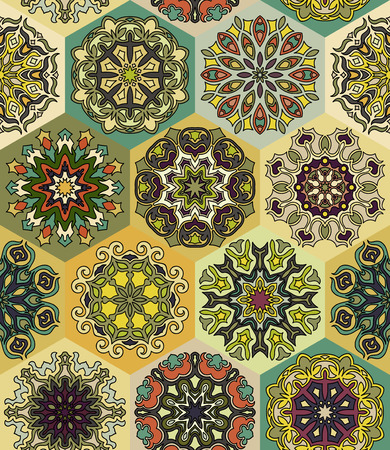 Colorful vintage seamless pattern with floral and mandala elements.Hand drawn background. Can be used for fabric, wallpaper, tile, wrapping, covers and carpet.