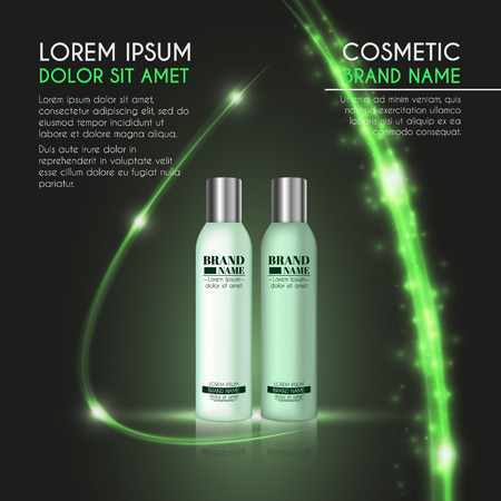 3D realistic cosmetic bottle ads template. Cosmetic brand advertising concept design with glowing sparkles and glitters abstract background.