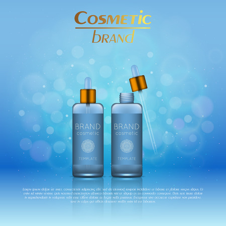 Vector 3D cosmetic illustration on a soft light blurred background with bokeh. Beauty realistic cosmetic product design template