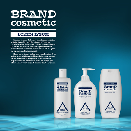 3D realistic cosmetic bottle ads template. Cosmetic brand advertising concept design with abstract glowing waves. Ilustracja
