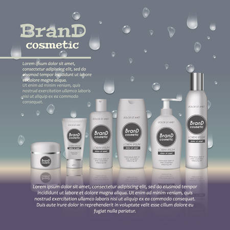 3D realistic cosmetic bottle ads template, Cosmetic brand advertising concept design with water bubbles and waterdrops background. Ilustração