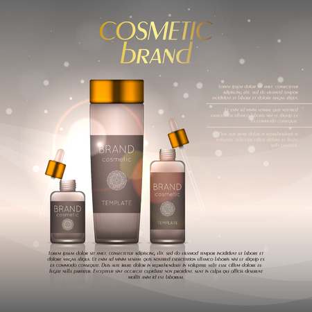 Vector 3D cosmetic illustration on a soft light background with flare effects. Beauty realistic cosmetic product design template