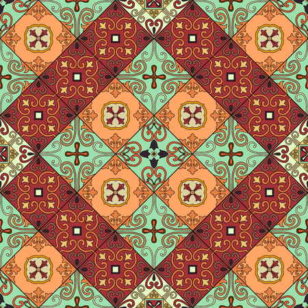 Seamless pattern with portuguese tiles in talavera style. Azulejo, moroccan, mexican ornaments 일러스트