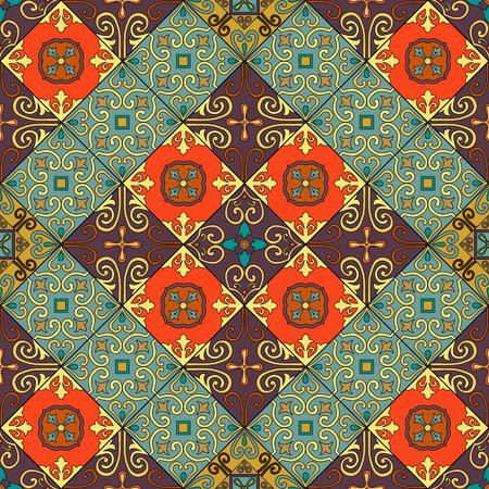 Seamless pattern with portuguese tiles in talavera style. Azulejo, moroccan, mexican ornaments Illusztráció