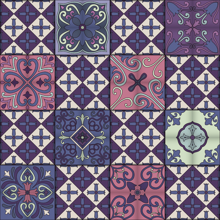 Seamless pattern with portuguese tiles in talavera style. Azulejo, moroccan, mexican ornaments Illustration
