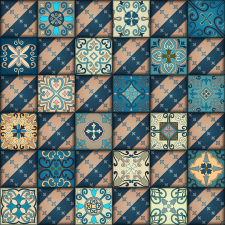 Seamless pattern with portuguese tiles in talavera style. Azulejo, moroccan, mexican ornaments Banque d'images - 94762139
