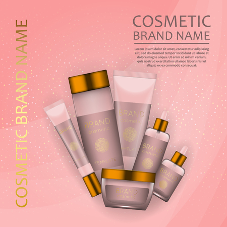 Vector 3D cosmetic illustration on a soft light waves background . Beauty realistic cosmetic product design template
