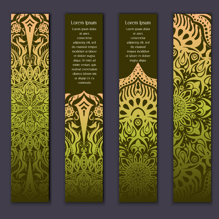 Card set with floral lace decorative mandala elements background. Asian Indian oriental ornate banners.